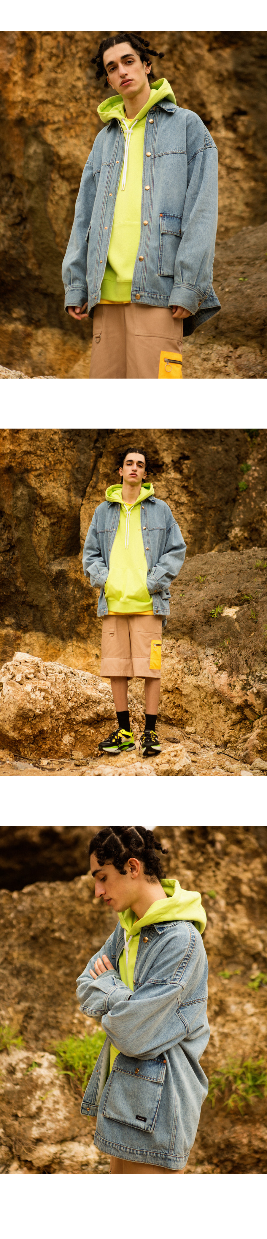 앤더슨벨 UNISEX RUNNING EMBROIDERY ANDERSSON HOODIE LIGHT GREEN atb295u