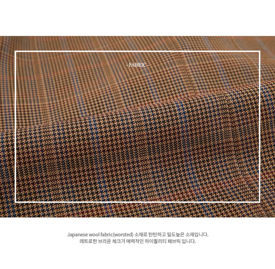 앤더슨벨(ANDERSSON BELL) 조셉 브라운 울 체크 싱글 롱 코트 awa229m(Brown)