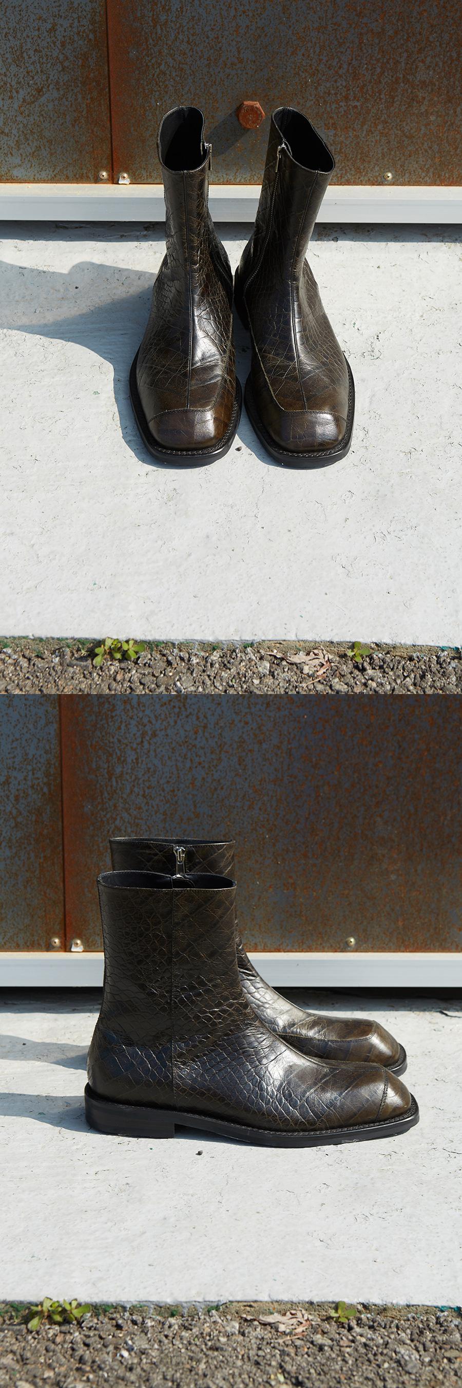 앤더슨벨(ANDERSSON BELL) 크록 뉴 패널 스퀘어 토 첼시 부츠 aaa257m(KHAKI/BLACK)