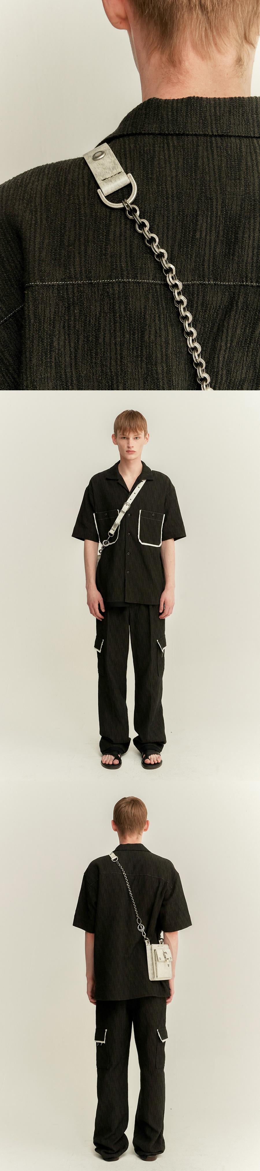 앤더슨벨(ANDERSSON BELL) 조니 오픈칼라 셔츠 atb501m(KHAKI/BLACK)