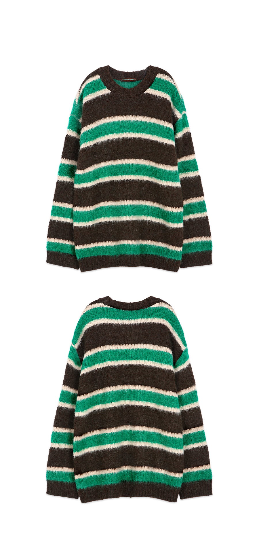 앤더슨벨(ANDERSSON BELL) 유니섹스 알파카 스트라이프 스웨터 atb420u(BROWN/GREEN)