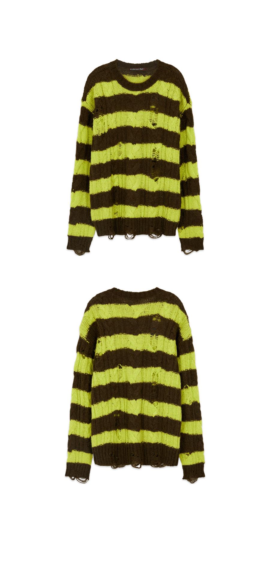 앤더슨벨(ANDERSSON BELL) 유니섹스 디스트로이드 스트라이프 케이블 스웨터 atb516u(KHAKI/LIME)